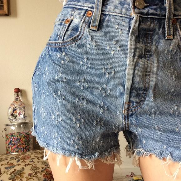 Levi's Pants - LEVI'S Premium Dotted 501 Denim Raw Edge Shorts
